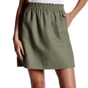 NWT J. Crew Green Linen Blend Skirt sz. 4